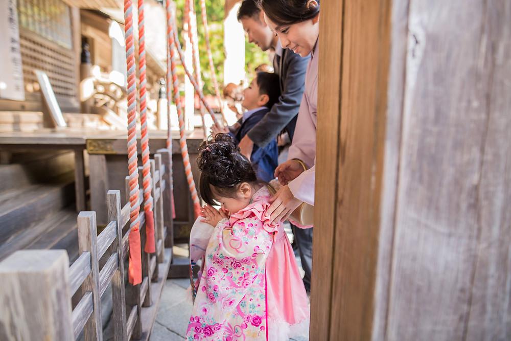 小國神社でお参りをする3歳女の子の七五三