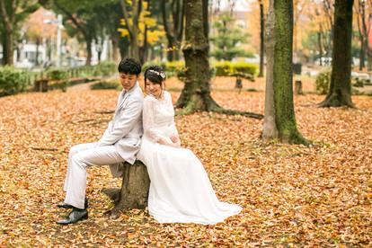 久屋大通公園で撮影した結婚式前撮り写真
