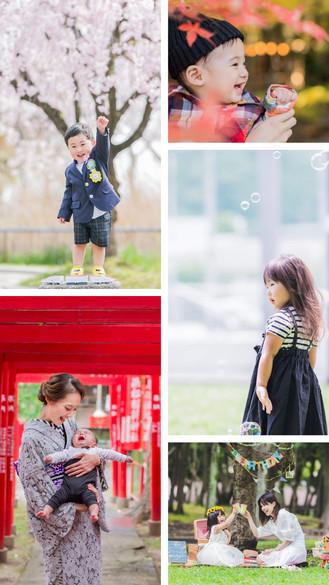 節目の記念日ごとに外で桜や紅葉と撮影をした家族の子供写真