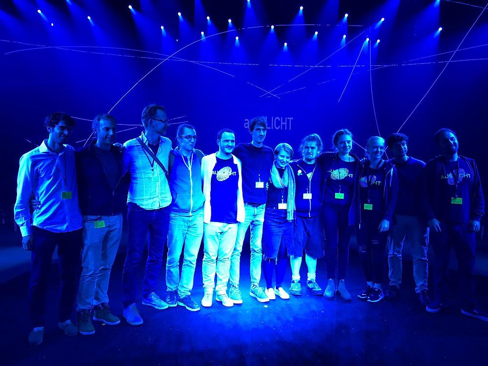 Most of the students of the master 'aus LICHT' program: (from left to right) O. Eilam, J. Verdaguer, (M. Blauw), I. Pavlov, V. François, C. Collings, C. Abbott, J. Burns, E. Lusche, (K. Clark), D. Baldo, (O. Browne)