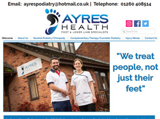 We highly recommend Debbie for web design. She worked closely with us to make sure we were happy with everything. She created a great web site which is eye catching and easy to navigate. We love it & look forward to working with Debbie in future.  Anna & Andrew - Ayres Podiatry - Congleton - Cheshire