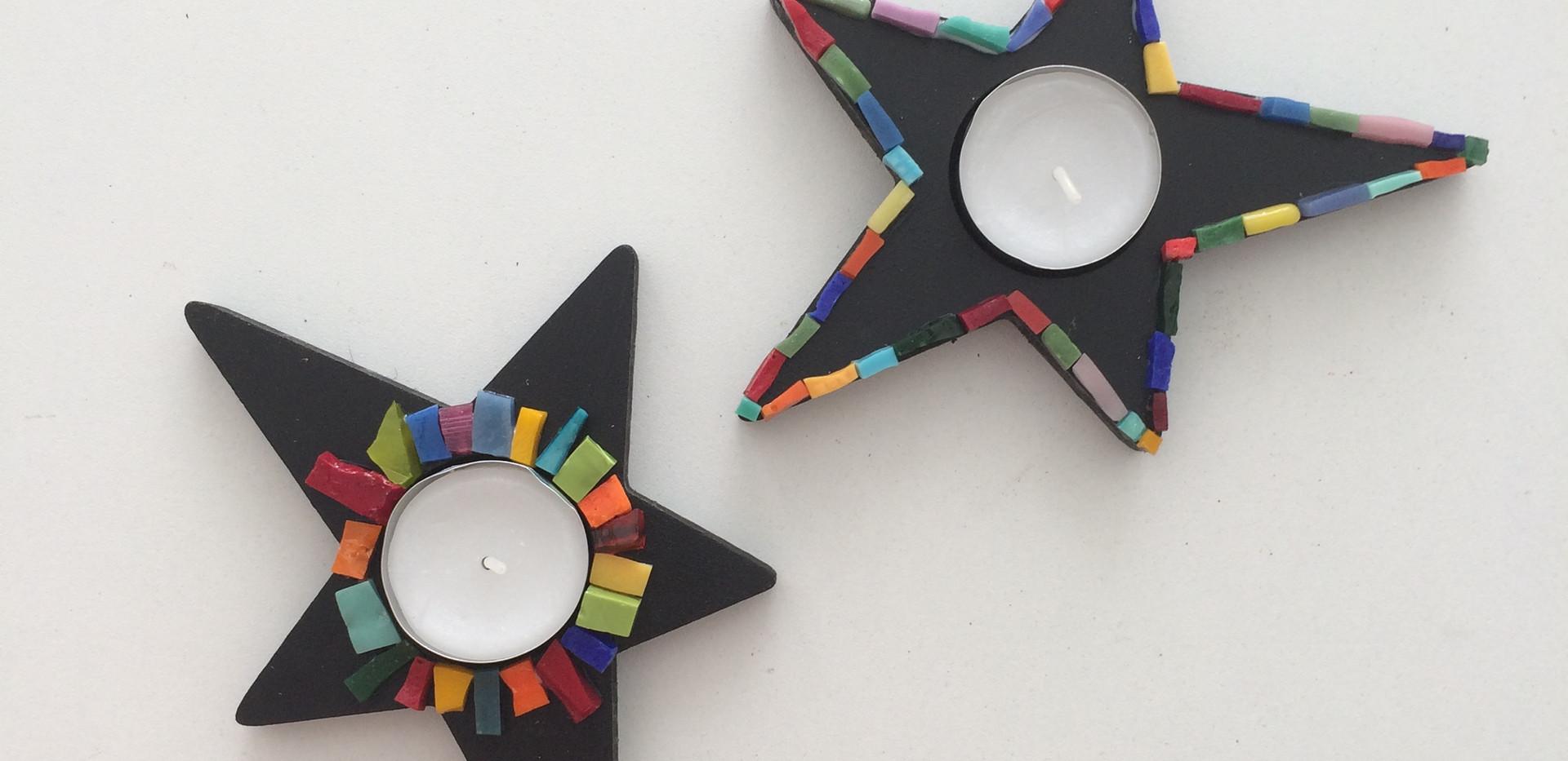 Création originale de deux bougoirs en forme d'étoile