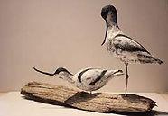 Céramique en raku d'avocettes de Yann Dupont, artiste céramiste et photographe animalier en Baie de Somme