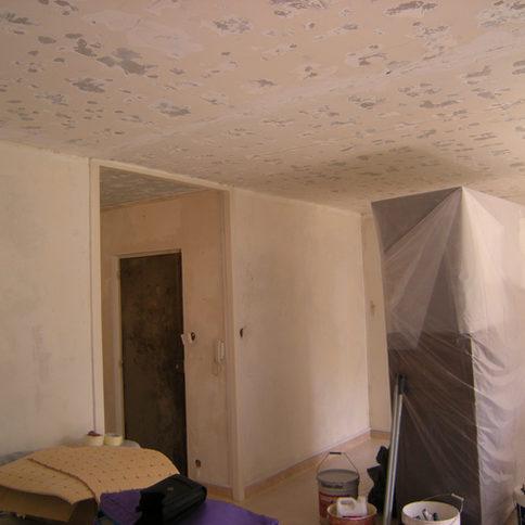 Chantier peinture traditionnelle salon appartement Grenoble.