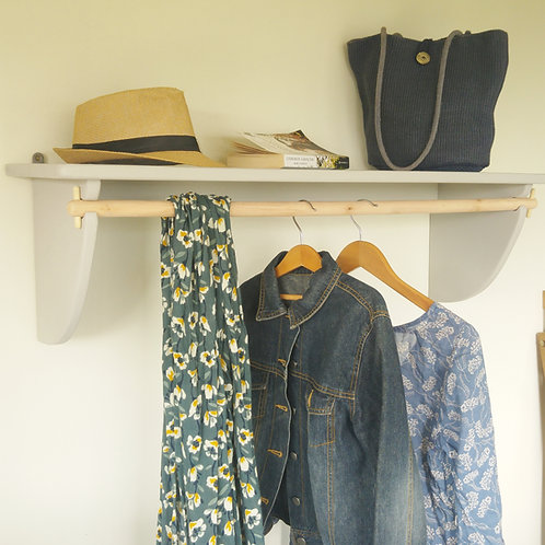 Vintage Styled Wooden Clothes Rail With Wide Top Shelf