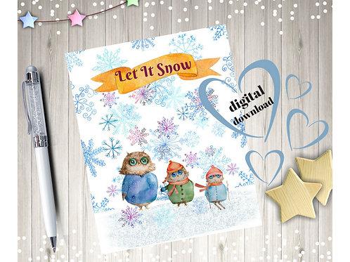 Owl Winter Printable Wall ARt