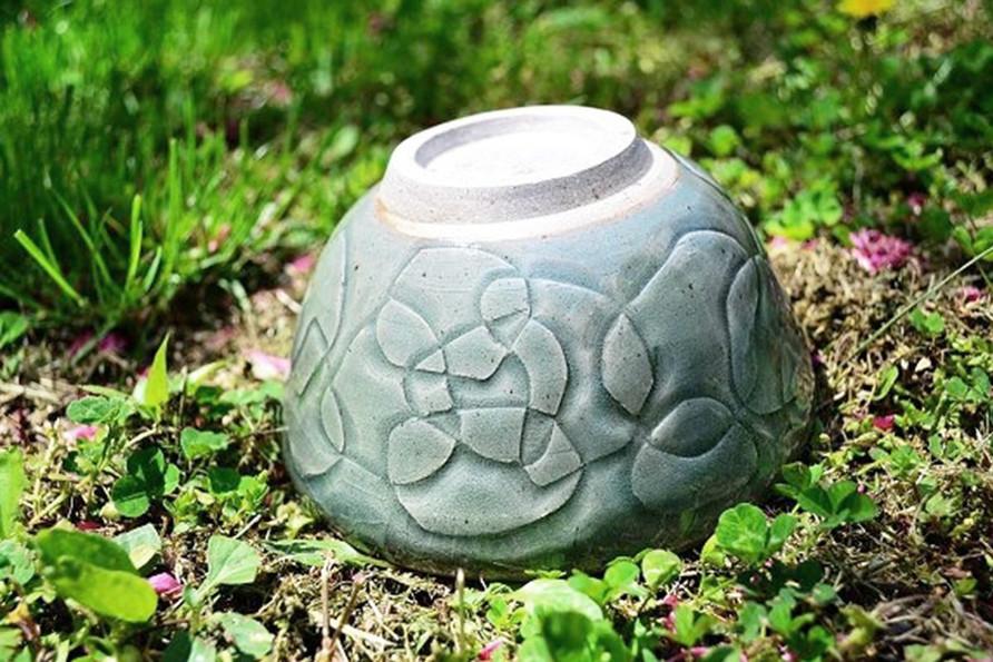 Carved Bowl with Celadon Glaze