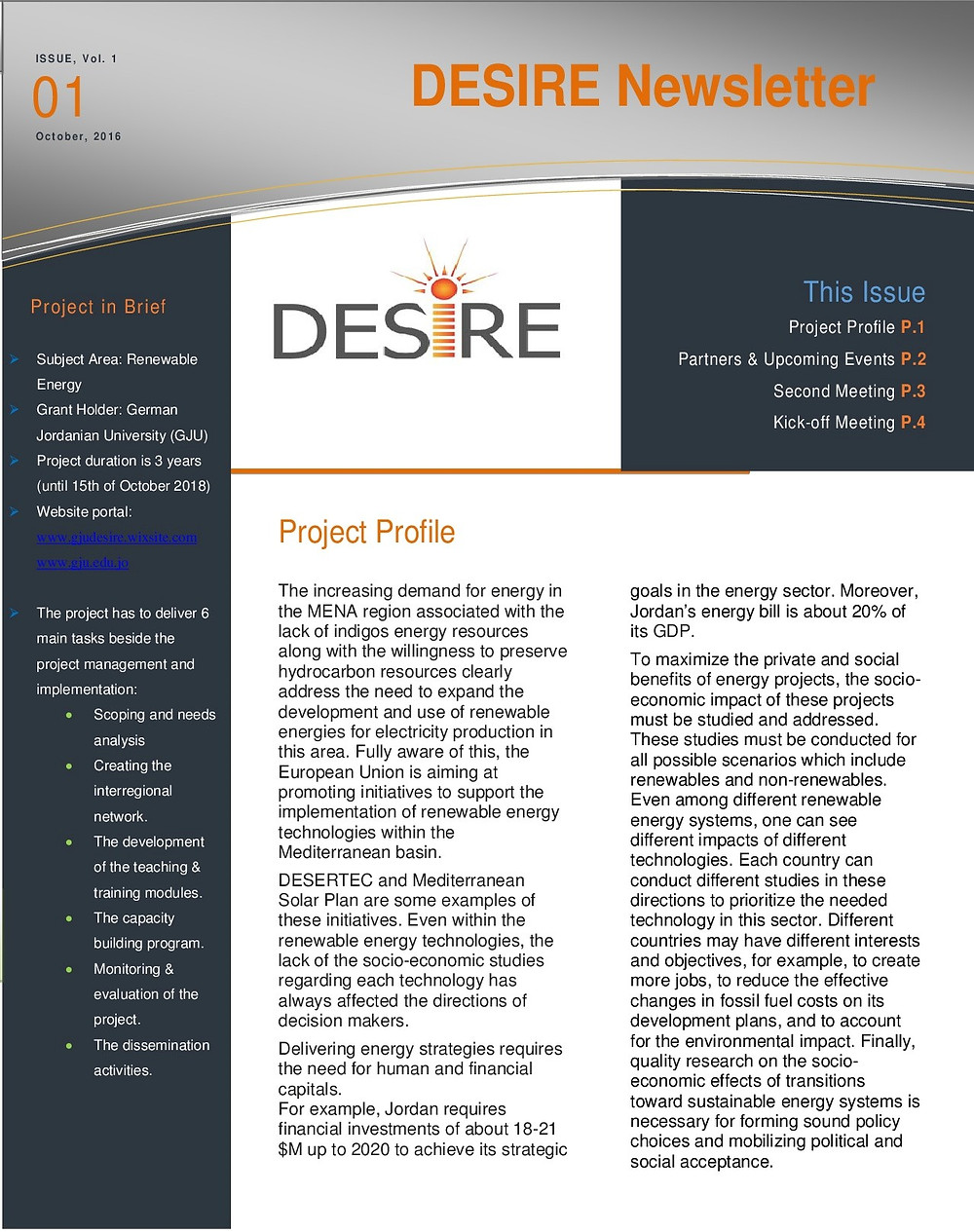 DESIRE Newsletter is available now in the publication tab. We hope you enjoy reading these pieces of our news