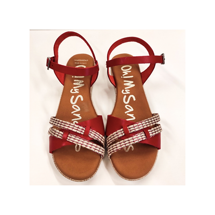 Sandalia plana rojo