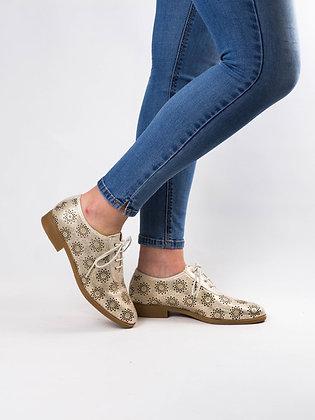 Zapato piel dorado