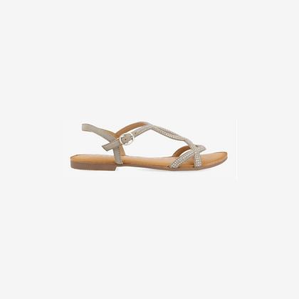Sandalia plana con adornos