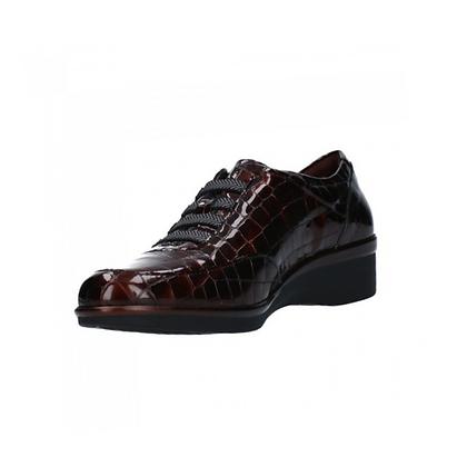 Zapato charol coco marrón y cordones marrón