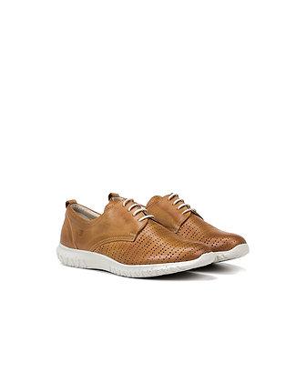Zapato deportivo de cordón camel