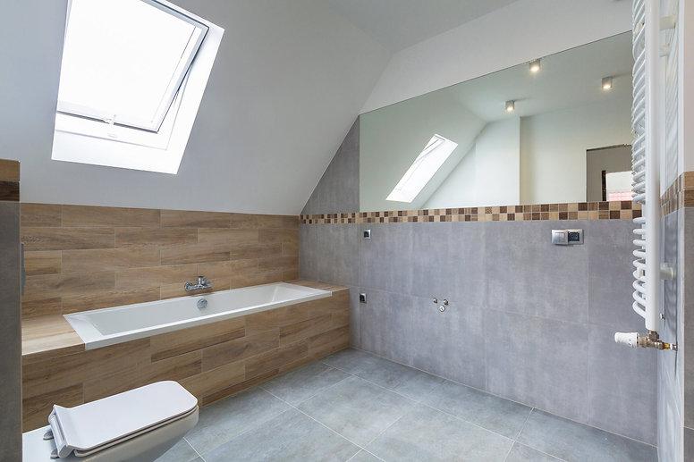 Interior of loft conversion bathroom in Walthamstow, E10