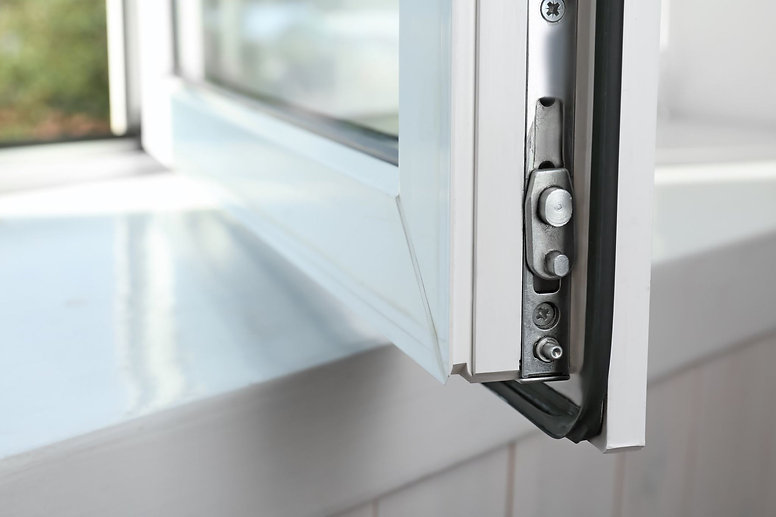 Close up view of window security lock