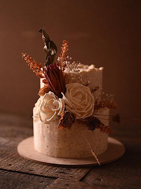 Honey Peach chamomile two tier cake