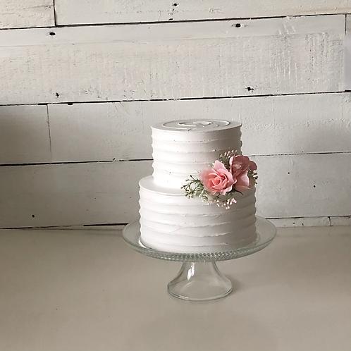 Two Tier Fake Swirl Buttercream Cake