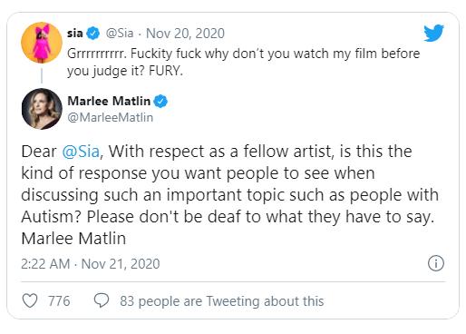 Sia va a la guerra con la comunidad de autistas por su nueva película 'Music'