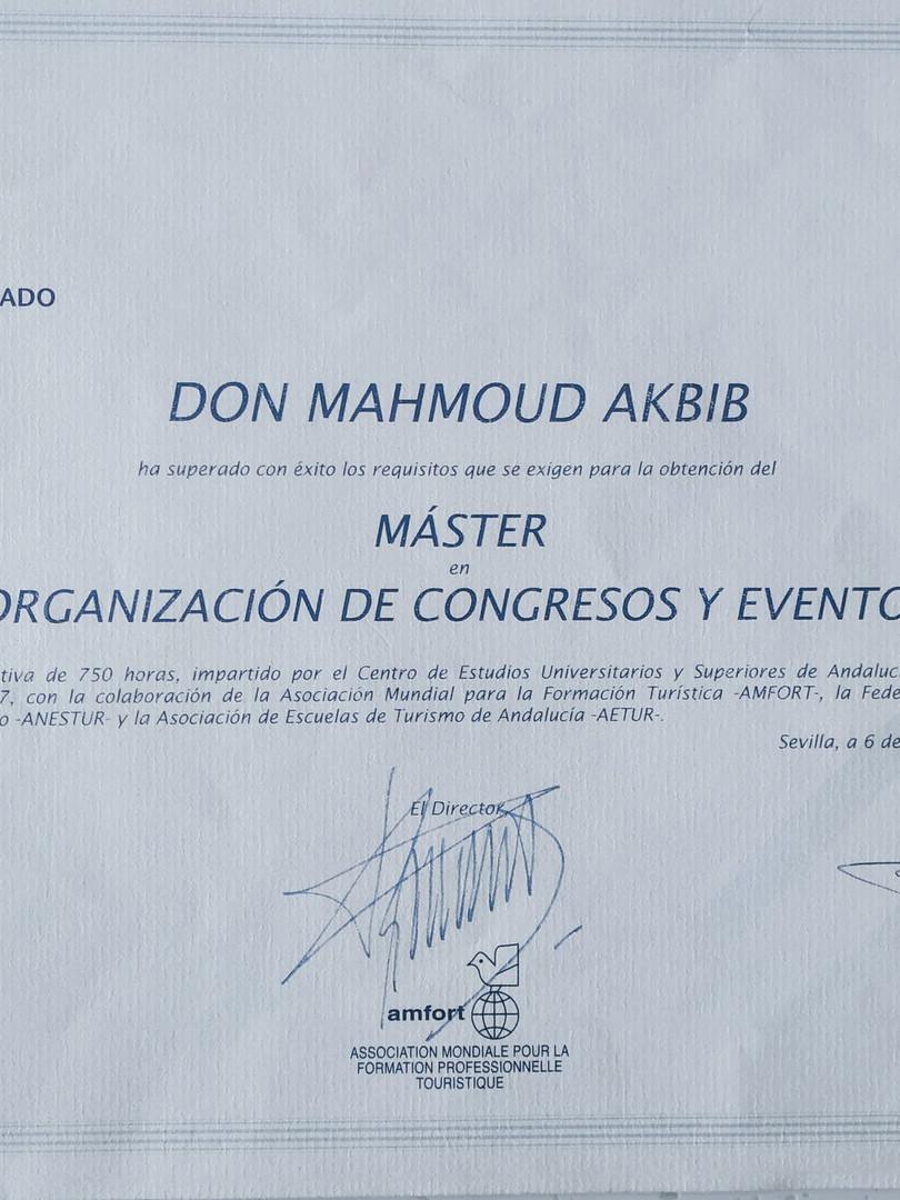 Master en Organisation des Congrès et Evénements