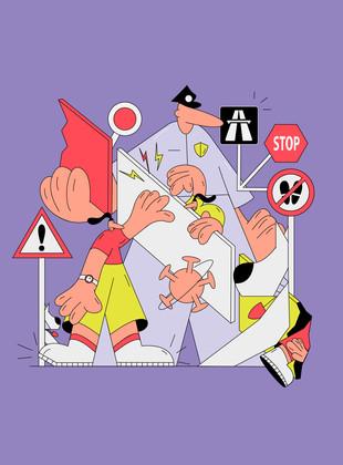 Crossing borders in quarantine, editorialillustration, 2020