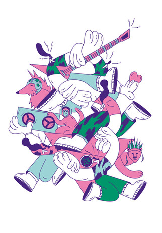 Solidarity, T shirt illustration for Rock for People Festival, 2020