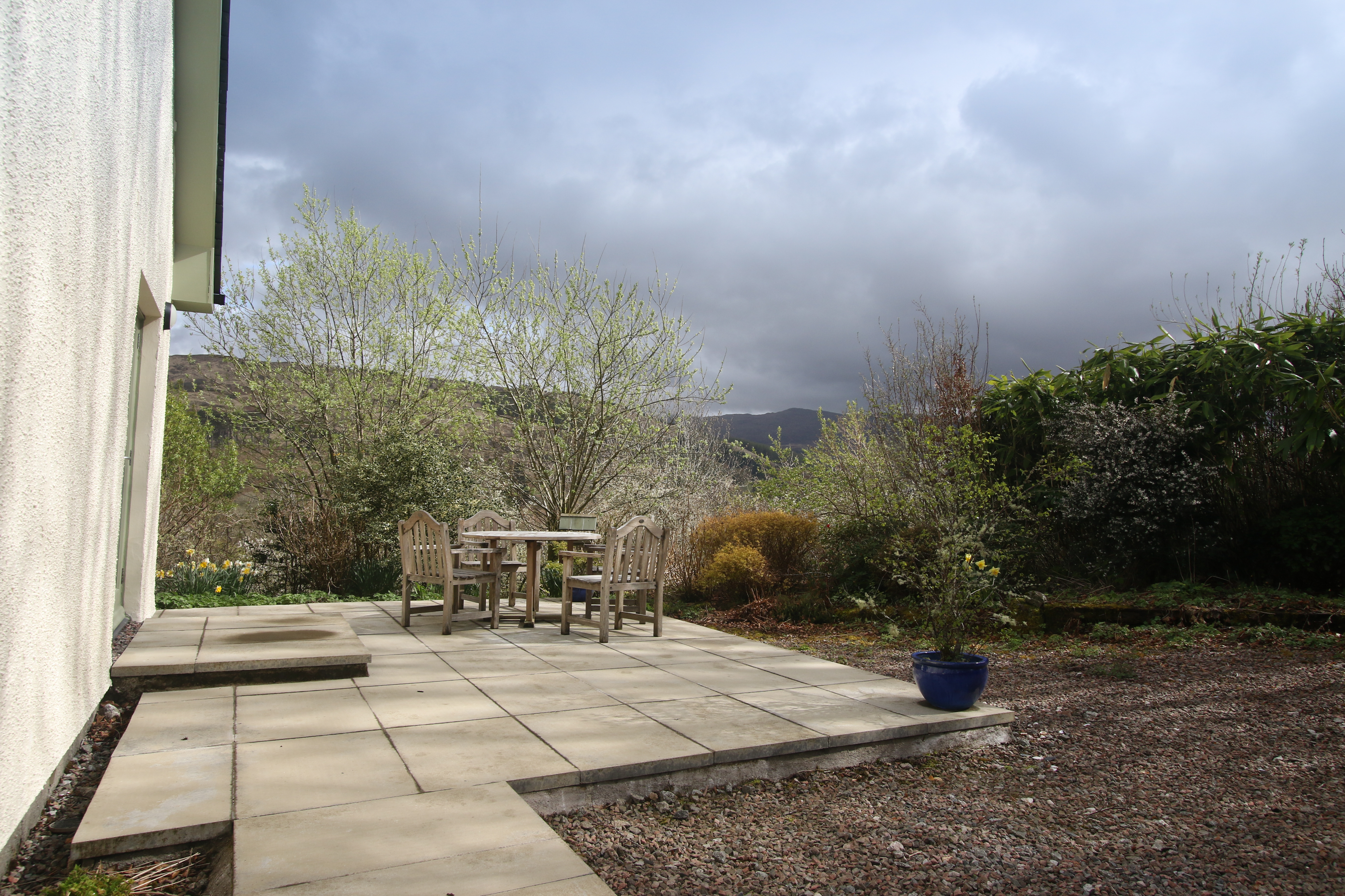 The patio and gardens