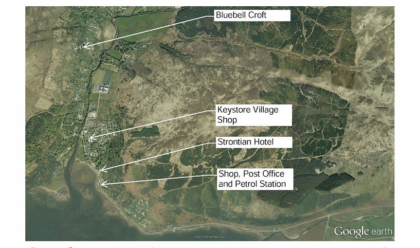 map of Strontian showing key sites in the village and Bluebell Croft location