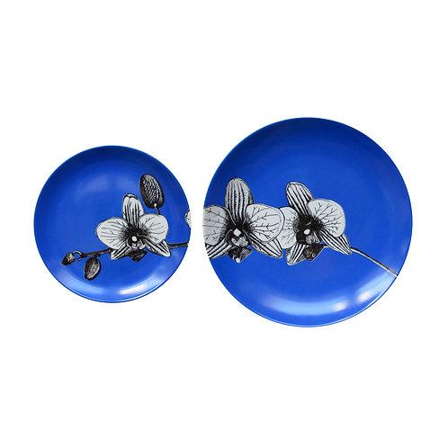 Duo Prato Porcelana Orquídea Cobalto