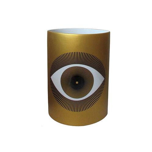 Vaso Decorado Oval Olho Gold Alto