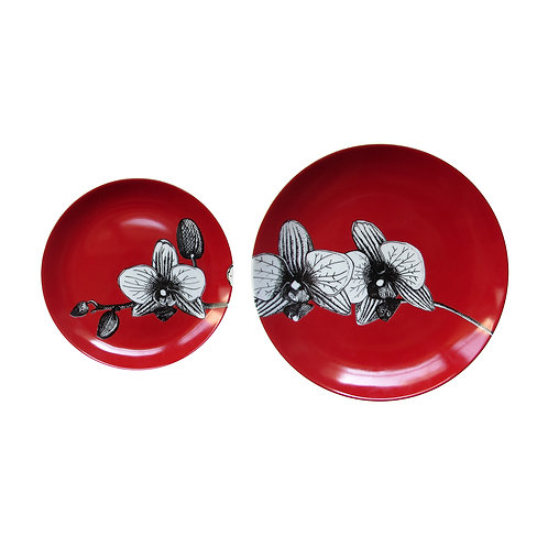 Duo Prato Porcelana Orquídea Red