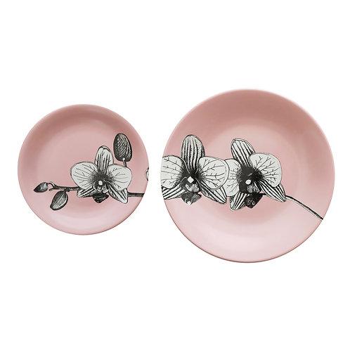 Duo de Duo de Pratos Decorados Orquídea Rosa