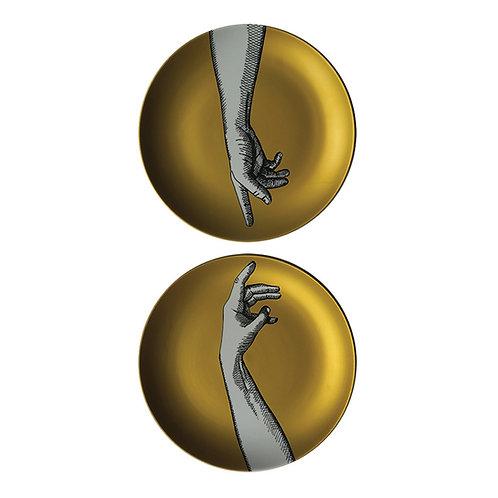 Duo de Pratos Decorados Mãos Gold