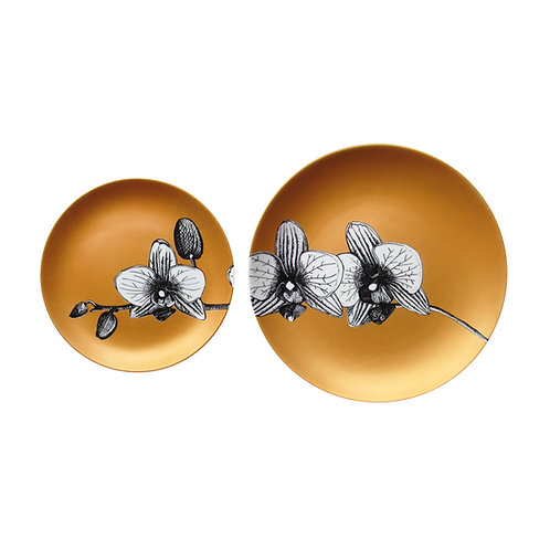 Duo Prato Porcelana Orquídea Gold