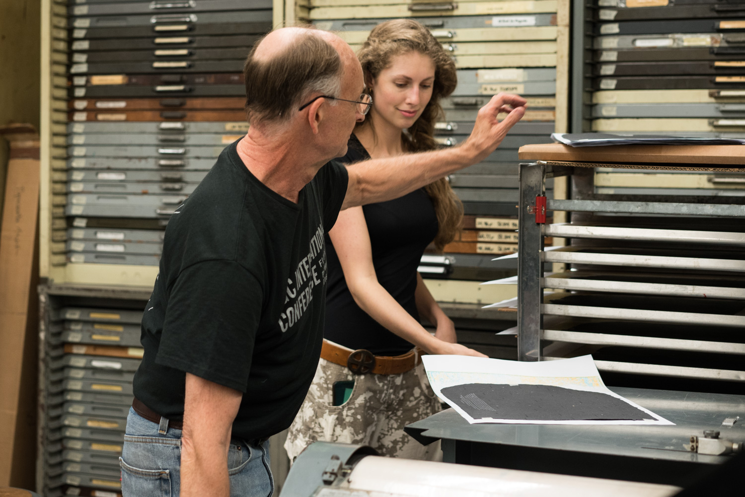 John & I in our printing element.
