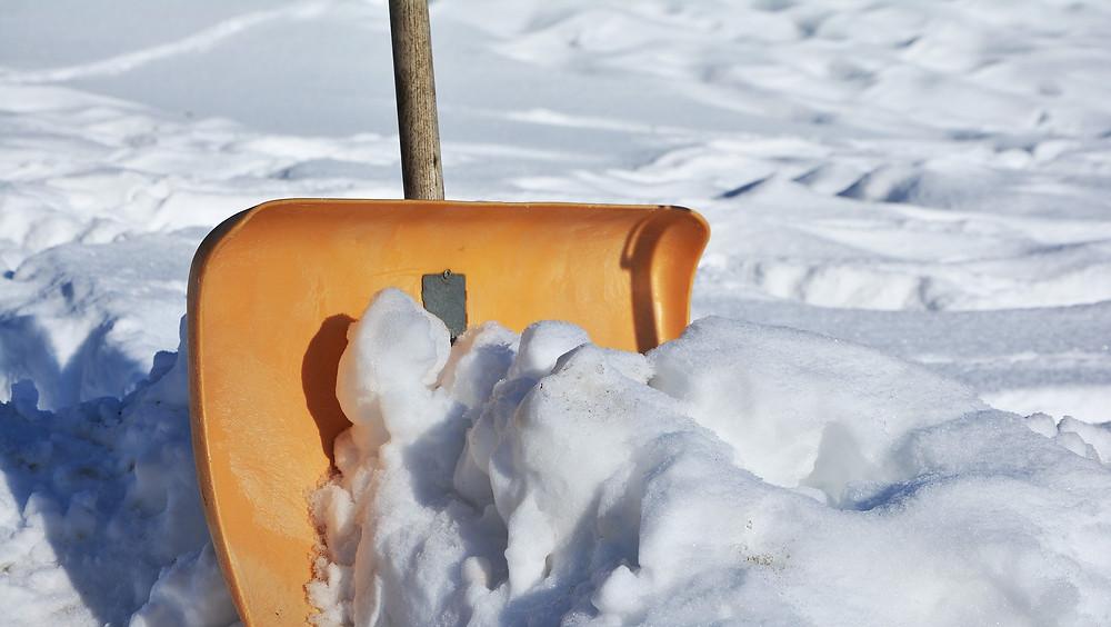 Shovel snow construction job site