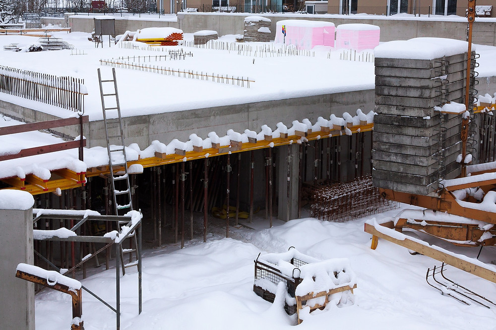 Construction job site snow