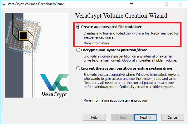 Create an encrypted file container