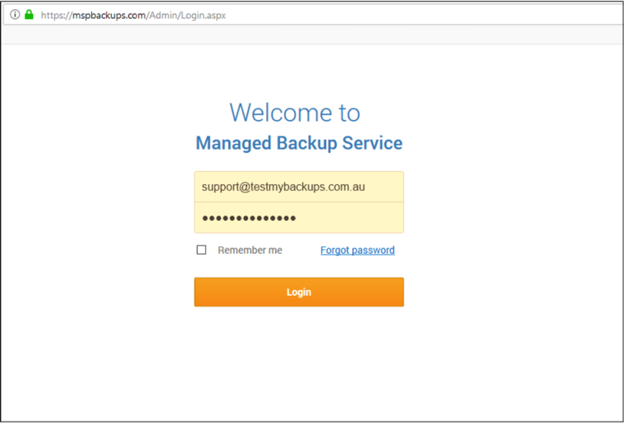 Managed Backup Service Console Login Screen