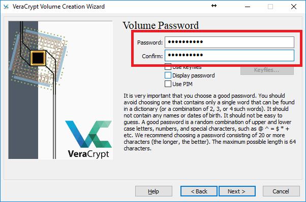confirm the password