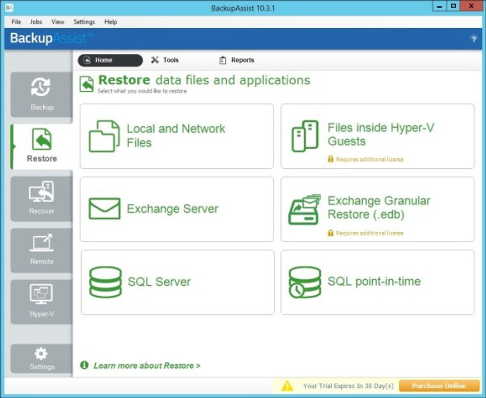 BackupAssist restore with a backup taken from one machine onto another.