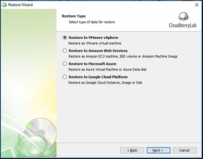 CloudBerry Backup VMware Restore