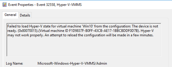 Event Viewer contains a lot of information when troubleshooting Hyper-V VSS backup errors