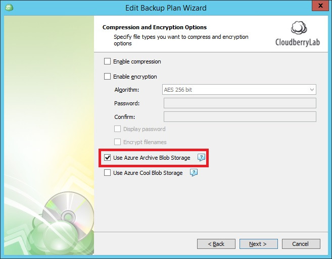Configuring Cloudberry backup plan to use Azure archive storage.