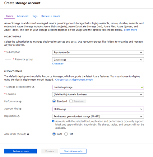 Configuring Azure Blob Storage