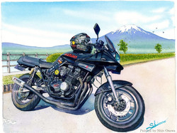 黒刀と富士(GSX750S KATANA)