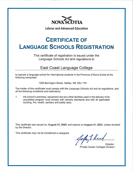 Certificate of Language Schools Registra