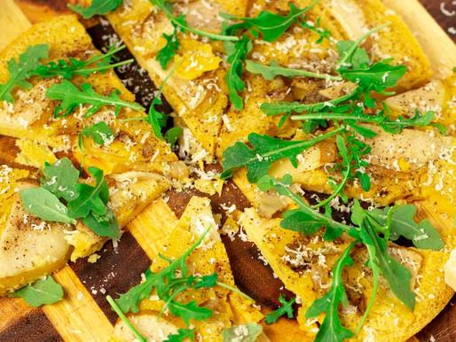 Pear, Onion and Parmesan Farinata