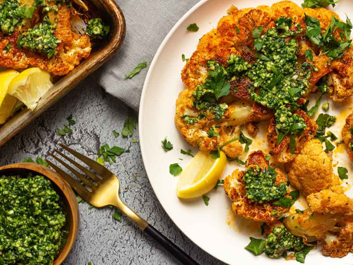 Roasted Cauliflower Steaks and Pesto