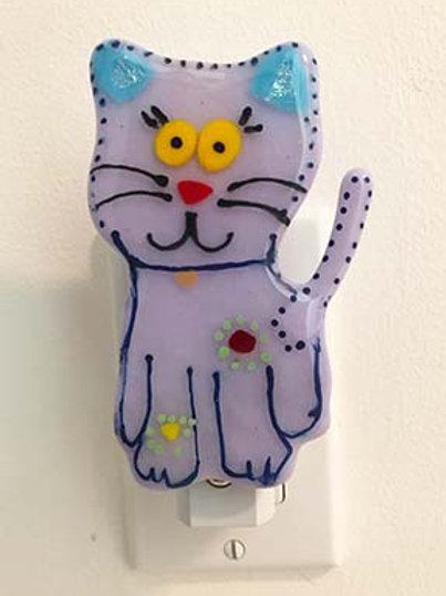 Purple Cat Fused Glass Night Light