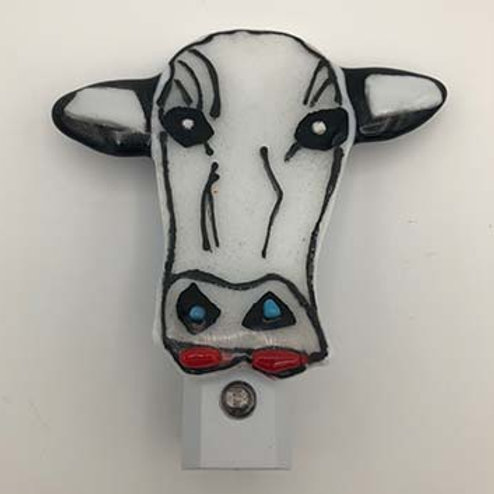 White Cow Fused Glass Night Light